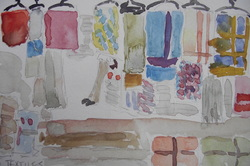 Watercolour painting of a market stall
