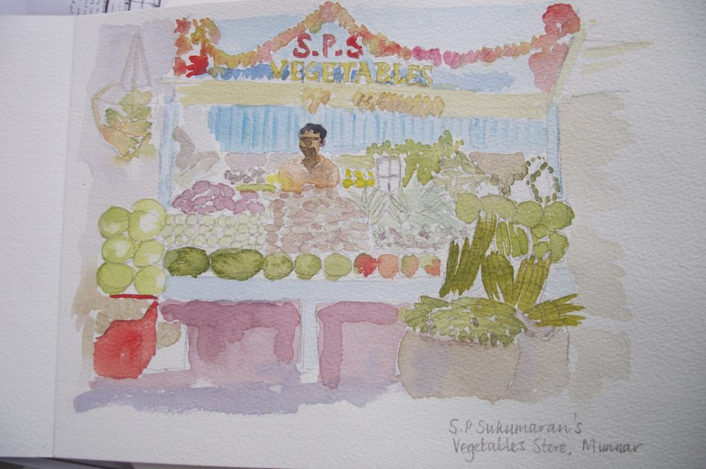 Watercolour painting of covered market in Munnar by Clare Flynn