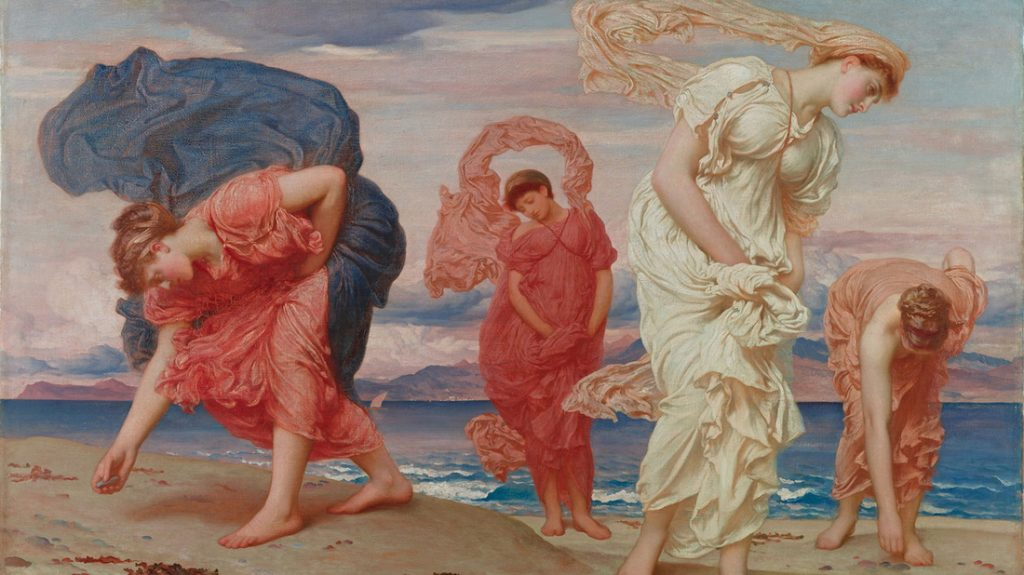 Picture of Greek Girls Picking up Pebbles by the Sea by Frederick Lord Leighton 1871