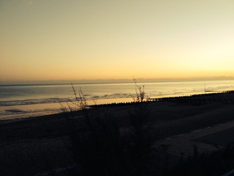 Image of beach at sunset