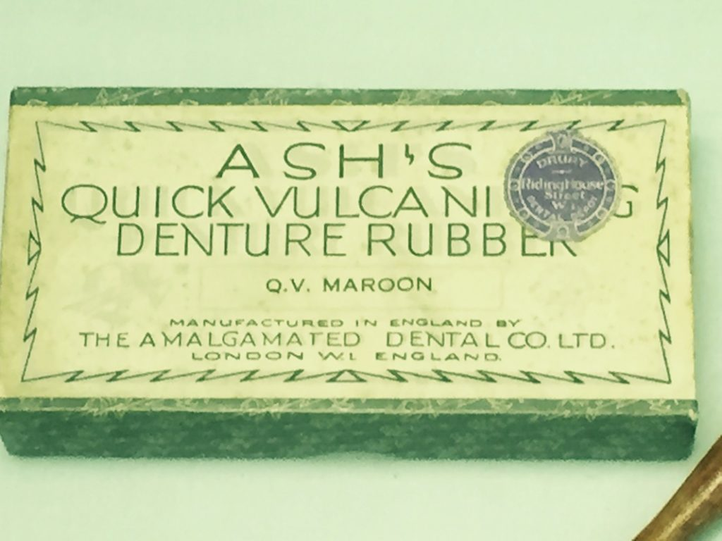 Image of sign for Ashes Quick Vulcanising denture rub