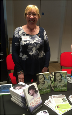 Photo of Clare Flynn at a book signing session at Foyles Bookstore in London