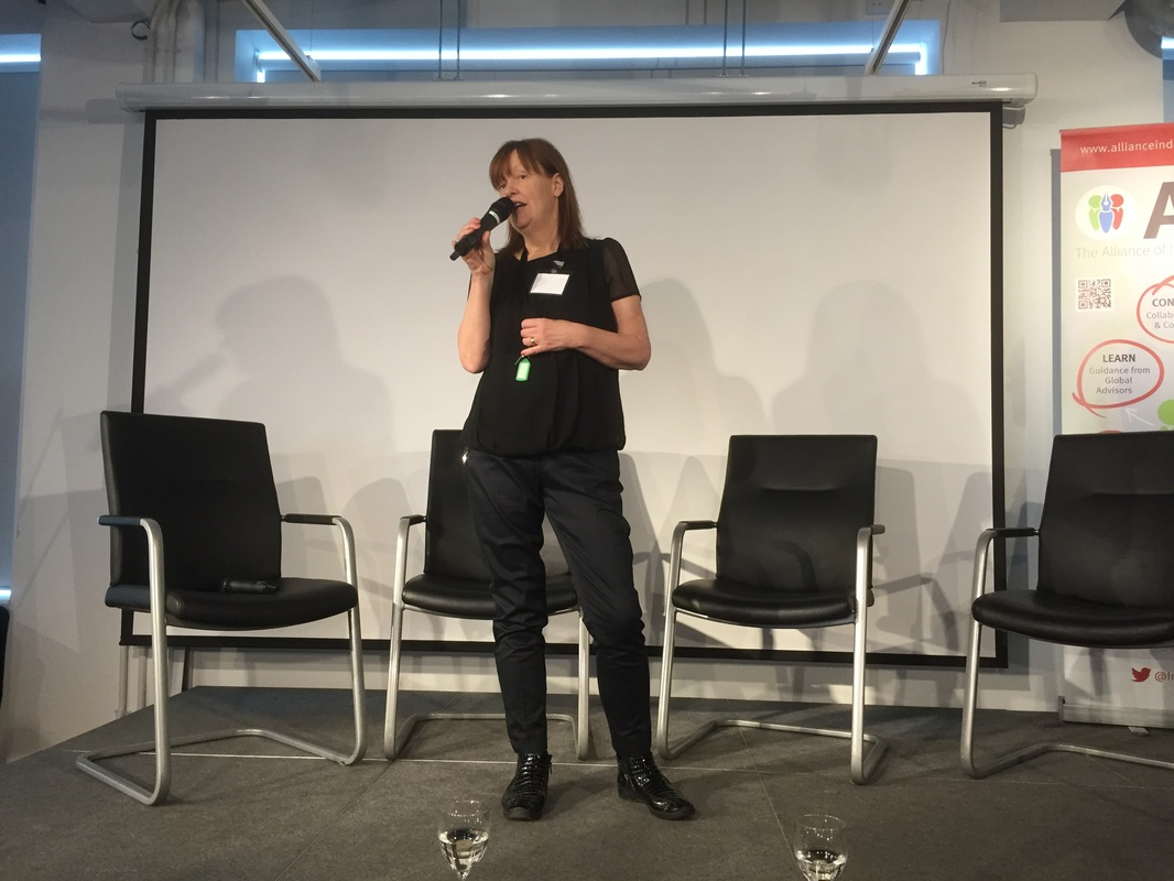Photo of Orna Ross speaking at the Indie Authors Fring Festival at Foyles