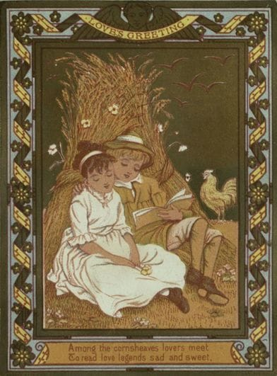 Image of 2 young people reading by a cornsheaf by Kate Greenaway