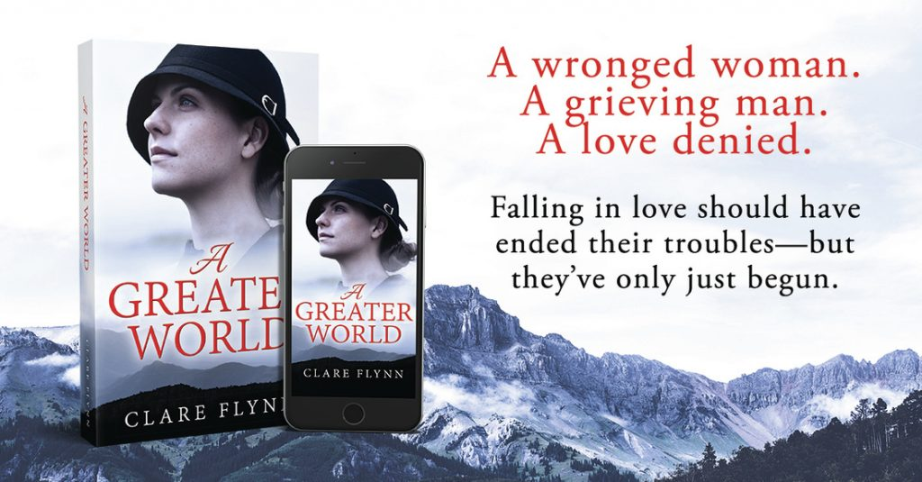 Image of a promo leaflet for the novel 'A greater World' by Clare Flynn