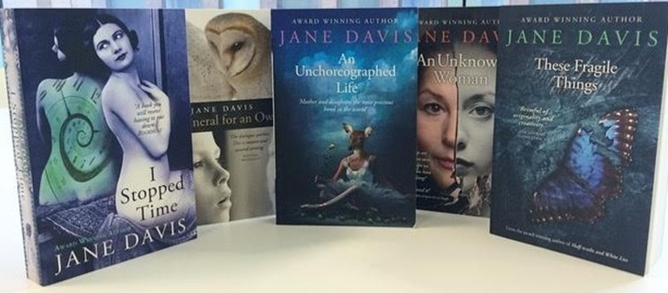 Prpmotional Image for the novels I stopped time An Unchoreograped Life An Unknown Woman and these Fragile Things by Jane Davis