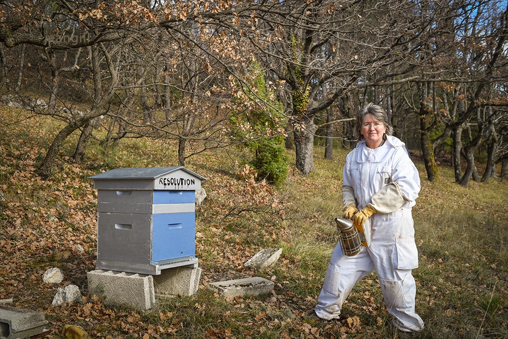 Image of Jean Gill and her beekeeping hobby