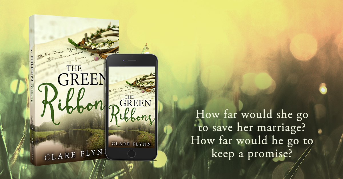 "Banner Image of the front cover of The Novel ""The Green Ribbons"" by Clare Flynn"