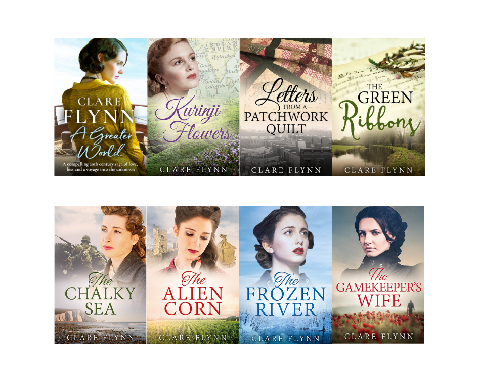 Image of Clare Flynn's Novels Lined up In A Row